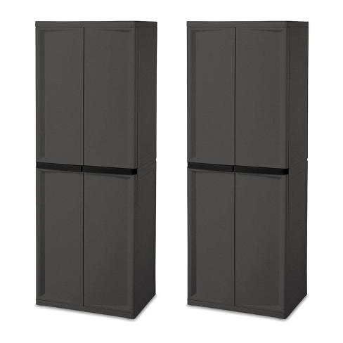 Sterilite Adjustable 4-Shelf Gray Storage Cabinet With Doors, 2 Pack | 01423V01 - image 1 of 4