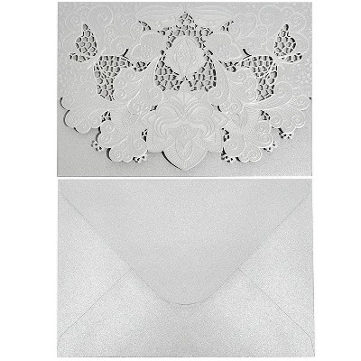 Paper Junkie 24-Pack Laser Cut Silver Glitter Invitations Cards with Envelopes for Wedding Bridal Shower, 7x5 in