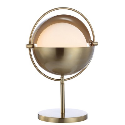 """17.5"""" Iron and Glass Casi Art Deco Mid Century Globe Table Lamp (Includes LED Light Bulb) Brass - Jonathan Y"""