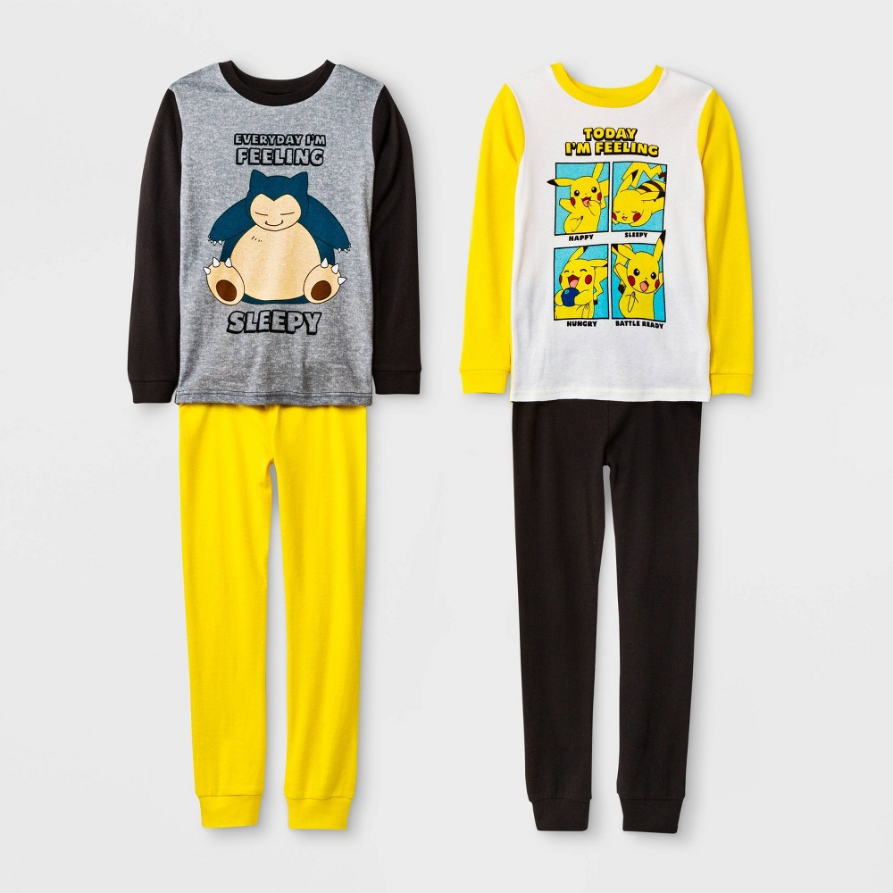 Image of Boys' Pokemon 4pc Pajama Set - Yellow/Black 4, Boy's, Black/Yellow