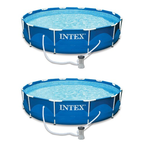 Intex 12ft x 30in Metal Frame Set Above Ground Swimming Pool & Filter (2 Pack) - image 1 of 4