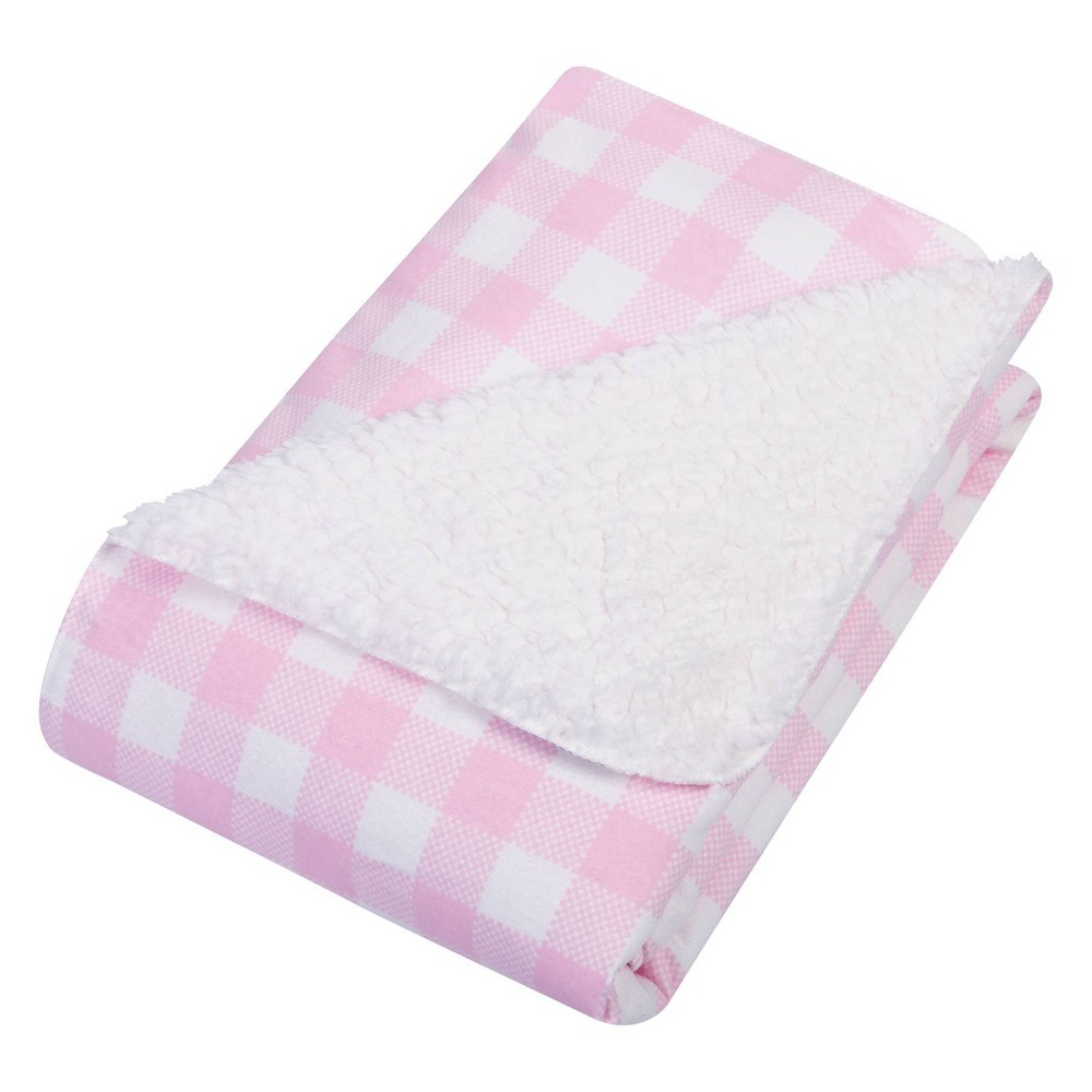 Image of Trend Lab Flannel and Faux Shearling Baby Blanket - Pink/White