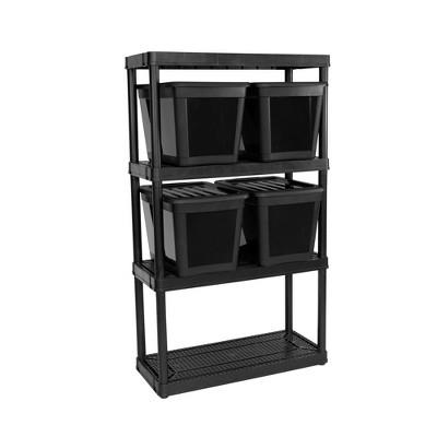 Gracious Living Garage Organization Utility 4 Bin Storage Shelving Kit, Black