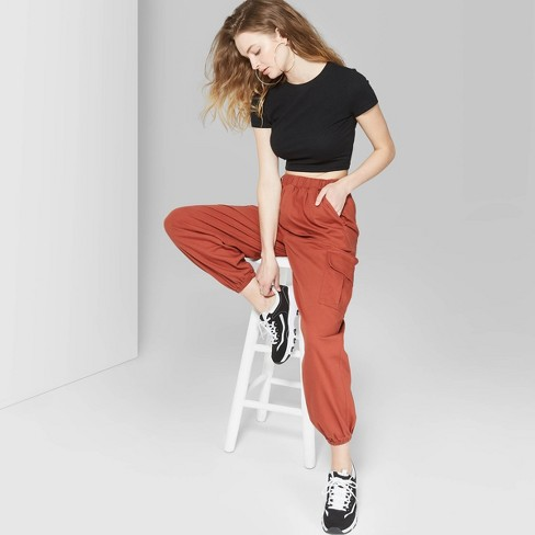 d0d22714486ad5 Women's High-Rise Baggy Cargo Pants - Wild Fable™ Red : Target