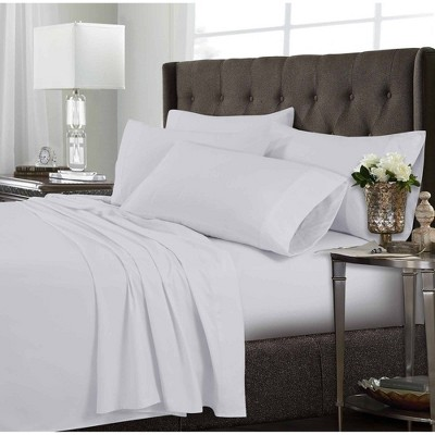 Full 6pc Microfiber Extra Deep Pocket Solid Sheet Set White - Tribeca Living