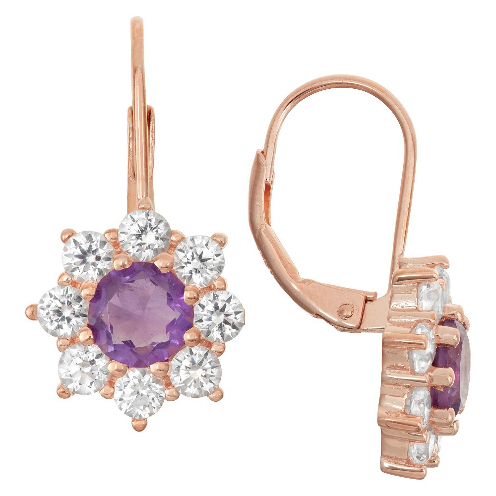 3 4/9 Tcw Tiara Rose Gold Over Silver Amethyst Snowflake Leverback Earrings