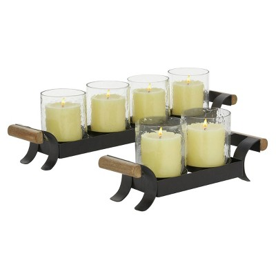 Set of 2 Tea Light Glass/Metal Candle Holders with Stand Black - Olivia & May