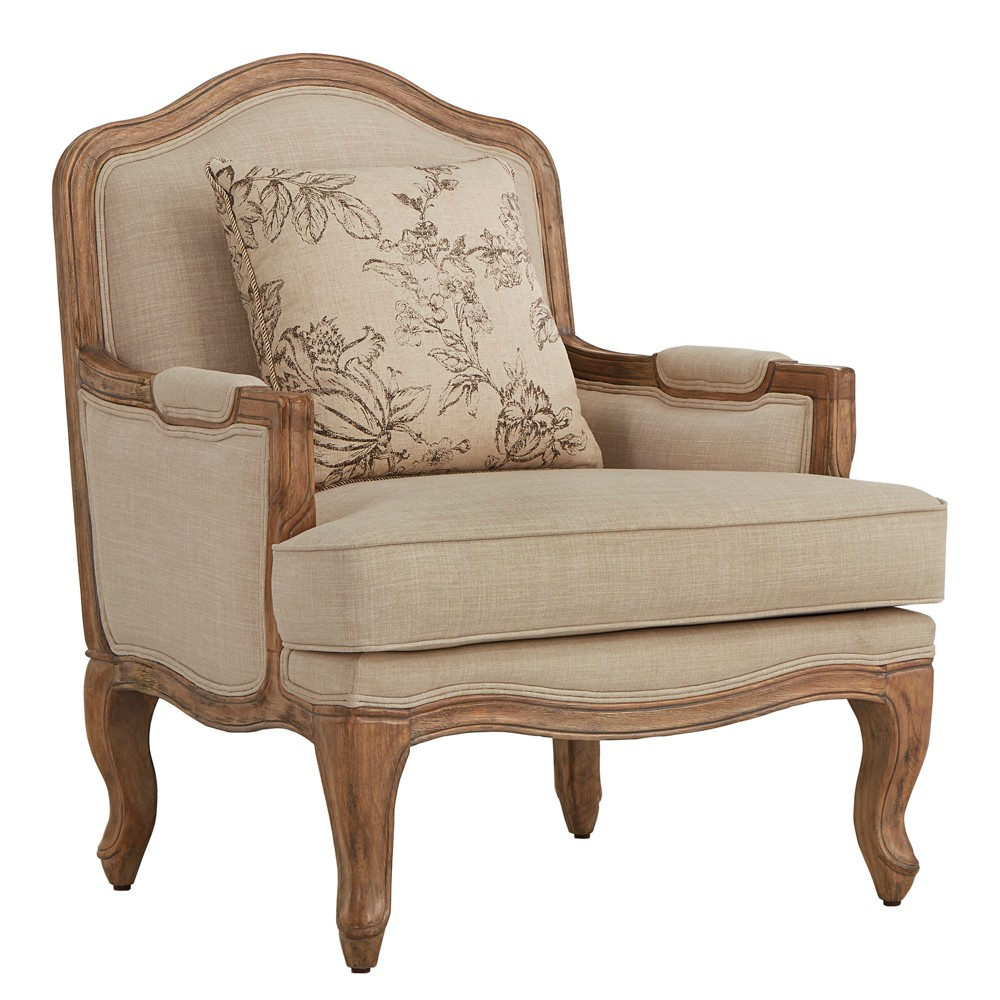 Inspire Q Amalie Grey Wash Accent Arm Chair and Pillow Linen Oatmeal Brown