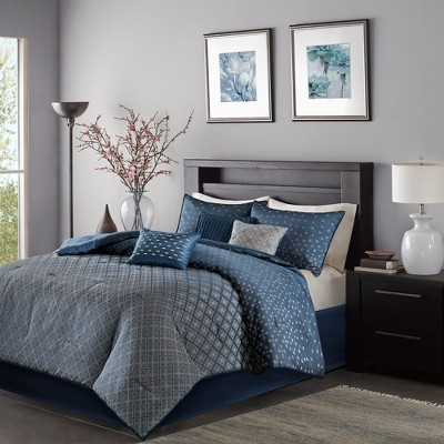Navy Hudson Comforter Set (Queen)7pc