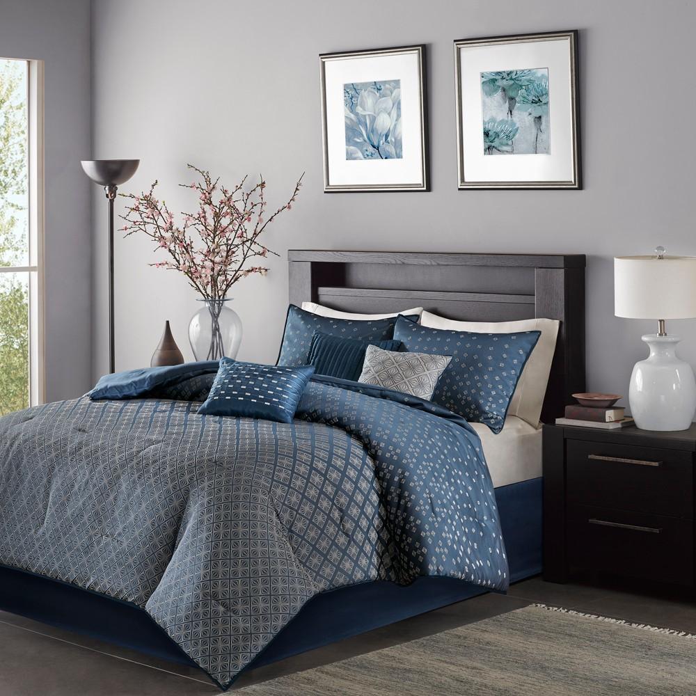 Navy (Blue) Hudson Comforter Set (California King) 7pc