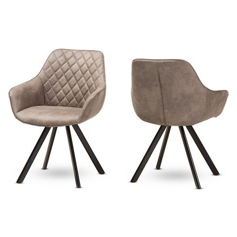 Set of 2 Pamela Midcentury Modern Fabric Upholstered Dining Chairs Light Brown - Baxton Studio - image 1 of 7