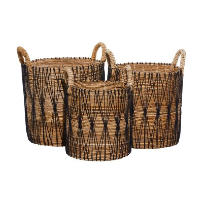 3pk Banana Leaf Storage Baskets Brown