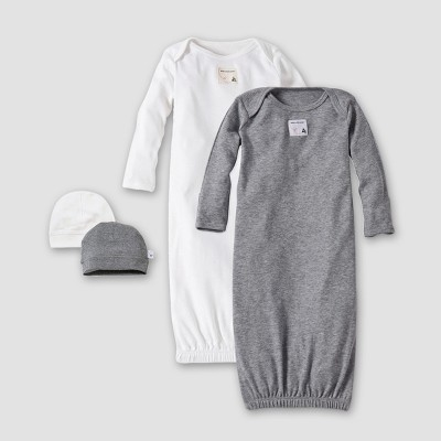 Burt's Bees Baby® Organic Cotton 4pc Gown and Cap Set - Heather Gray One Size