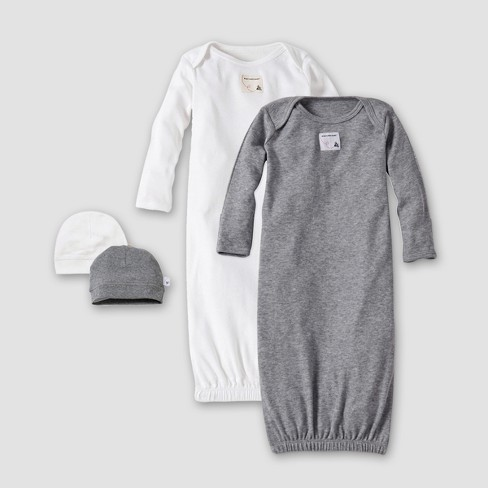3c2ed3d9e471 Burt's Bees Baby® Organic Cotton 4pc Nightgown With A Cap - Heather Gray  One Size : Target