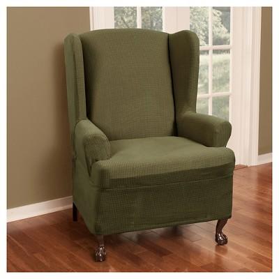 Deep Sage Stretch Reeves Wing Chair Slipcover   Maytex : Target