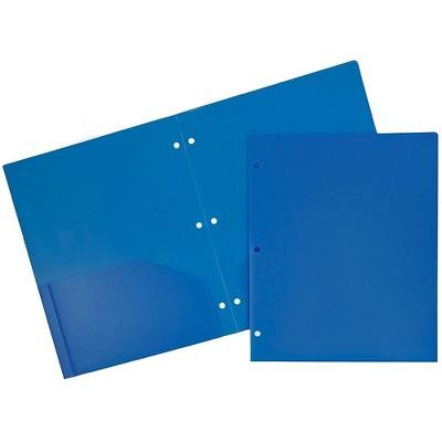 JAM Paper Heavy Duty Plastic 3 Hole Punch Two-Pocket School Folders Blue 383HPBBUA