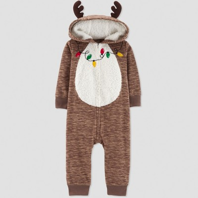 Baby's Reindeer Jumpsuit - Just One You® made by carter's Brown Newborn