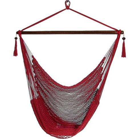 Caribbean Hanging Rope Hammock Chair - Red - Sunnydaze Decor - image 1 of 6