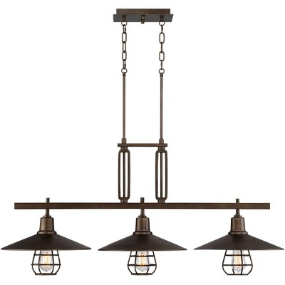 """Franklin Iron Works Oil Rubbed Bronze Large Linear Island Pendant Chandelier 44"""" Wide 3-Light Industrial Rustic for Kitchen Island"""