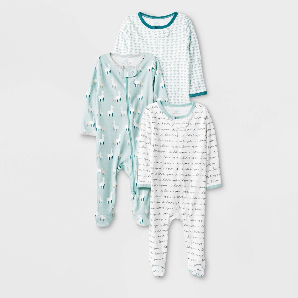 Image of Baby 3pk Llama Love Zip Sleep N' Play Pajama - Cloud Island 0-3M, Kids Unisex, Green