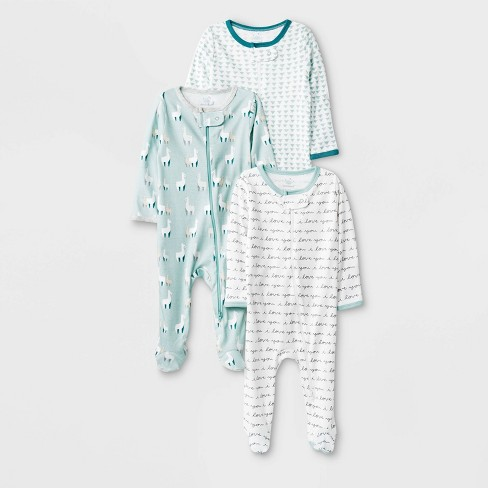 Baby 3pk Llama Love Zip Sleep N' Play Pajama - Cloud Island™ Newborn - image 1 of 1