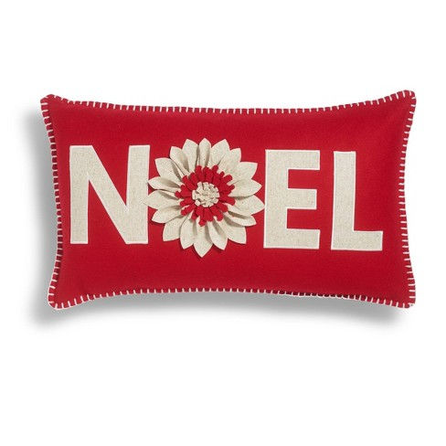 "14""x24"" Noel Poinsettia Throw Pillow Red/White - Sure Fit - image 1 of 3"