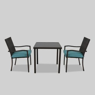 Halsted 3pc Patio Bistro Set Turquoise - Threshold™