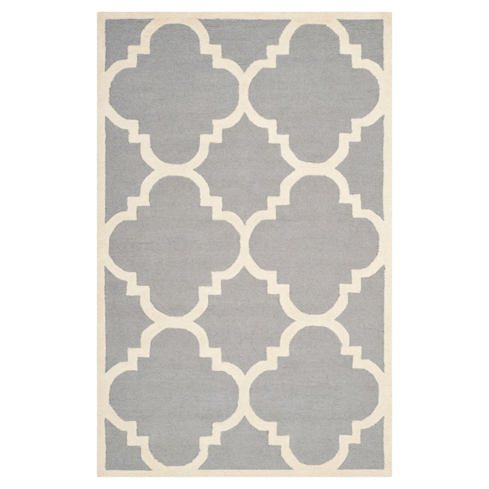 Landon Texture Wool Rug - Silver / Ivory (5' X 8') - Safavieh, Silver/Ivory