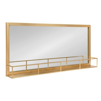 "18"" x 40"" Jackson Metal Frame Mirror with Shelf Gold - Kate and Laurel"