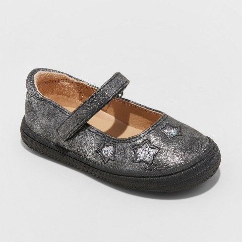 Toddler Girls' Annabelle Adjustable Easy Close Mary Jane with Glitter - Cat & Jack™ Pewter 7 - image 1 of 3