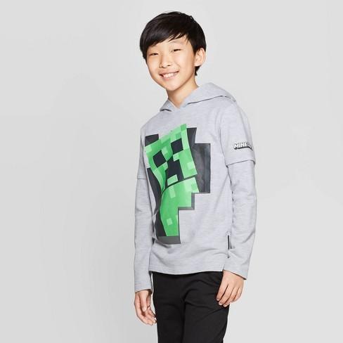 Boys' Minecraft Creeper Backer Hooded Long Sleeve T-Shirt with Hangdown - Heather Gray - image 1 of 3