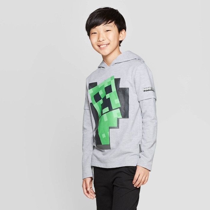 Boys' Minecraft Creeper Backer Hooded Long Sleeve T-Shirt with Hangdown - Heather Gray - image 1 of 3