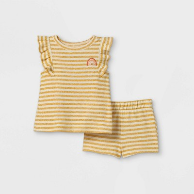 Toddler Girls' 2pc Striped Tank Top & Bottom Set - art class™ Yellow