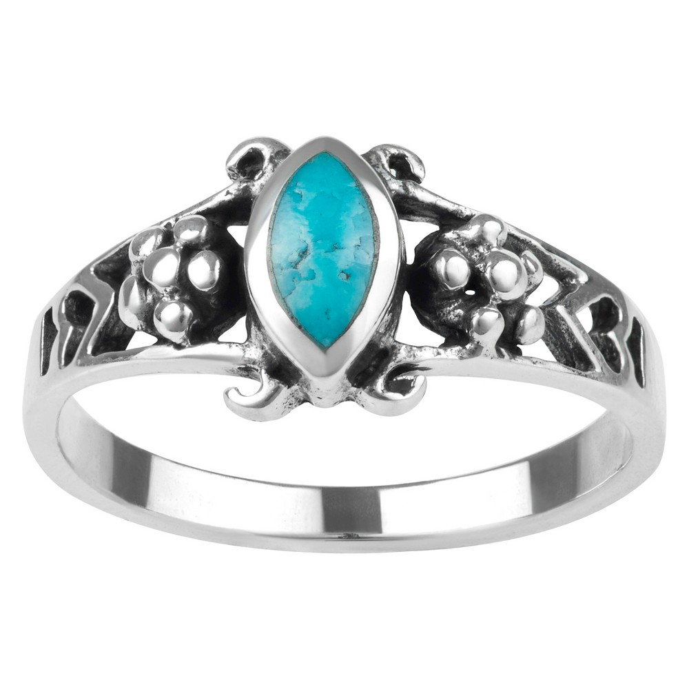 1/10 CT. T.W. Marquise-cut Turquoise Fashion Bezel Set Ring in Sterling Silver - Blue, 6, Girl's