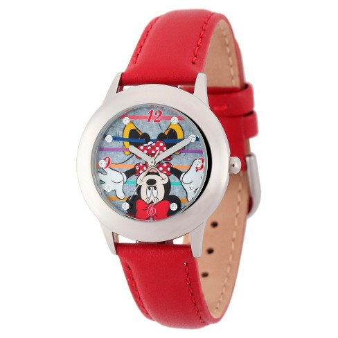 Disney® Girls' Minnie Mouse Stainless Steel Case with Glitz Watch - Red - image 1 of 2