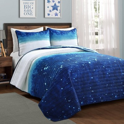 Make A Wish Space Star Ombre Quilt Set Navy - Lush Décor