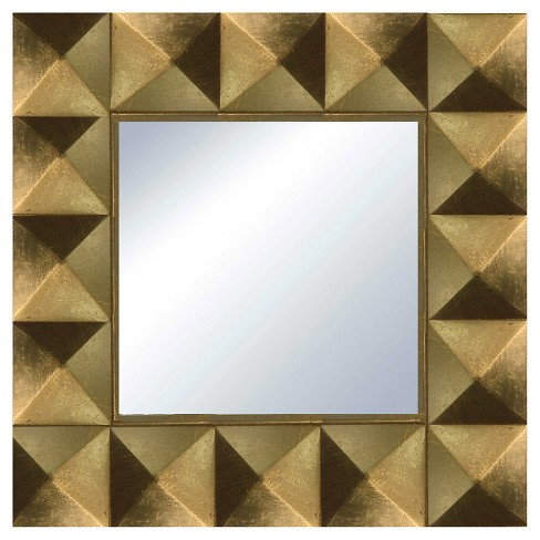 Square Pyramid Framed Decorative Wall Mirror Gold Leaf Ptm Images