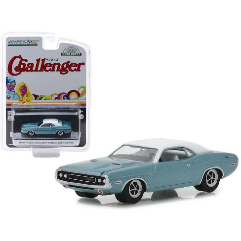 """1970 Dodge Challenger Blue with White Top """"Western Sport Special"""" Hobby Exclusive 1/64 Diecast Model Car by Greenlight - image 1 of 1"""