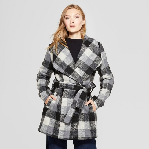 Women's Plaid Wrap Coat - A New Day™ Black - image 1 of 2