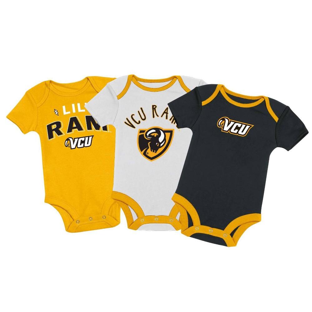 Ncaa Vcu Rams Baby Boys 39 3pk Bodysuit Set 3 6m