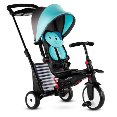 smarTrike Elephant Zoo Animal 7 in 1 Folding  Stroller Tricycle with Secure Safety Harness for Baby, Toddler, and Infant Ages 9 Months to 3 Years