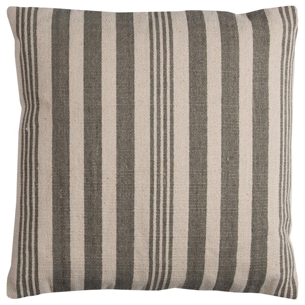 Rizzy Home Vertical Stripe Throw Pillow Gray