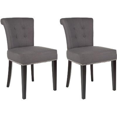 """Sinclair 21""""H Ring Chair (Set of 2) w/ Silver Nail Heads  - Safavieh"""