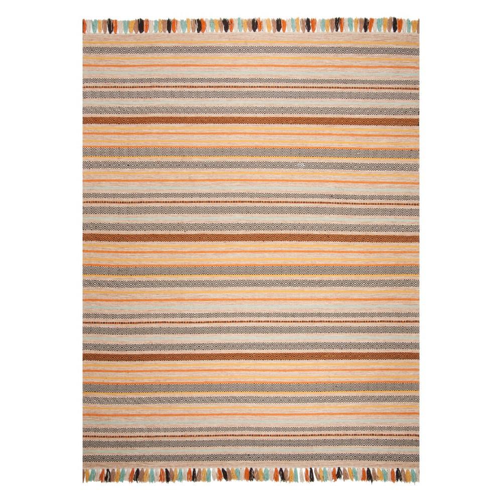 8'X10' Stripe Woven Area Rug Beige - Safavieh, Beige/Multi-Colored