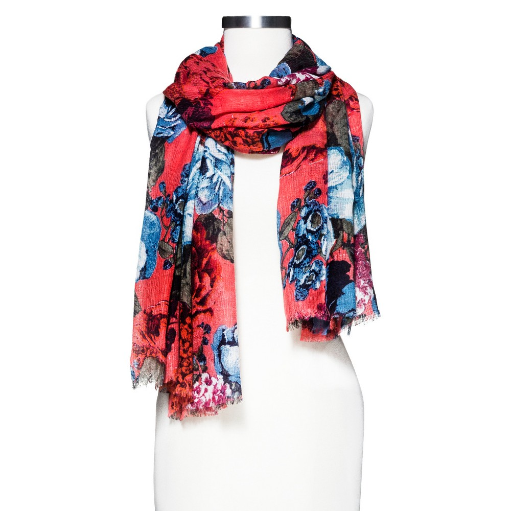 Women's Floral Scarf - Merona Coral, Pink