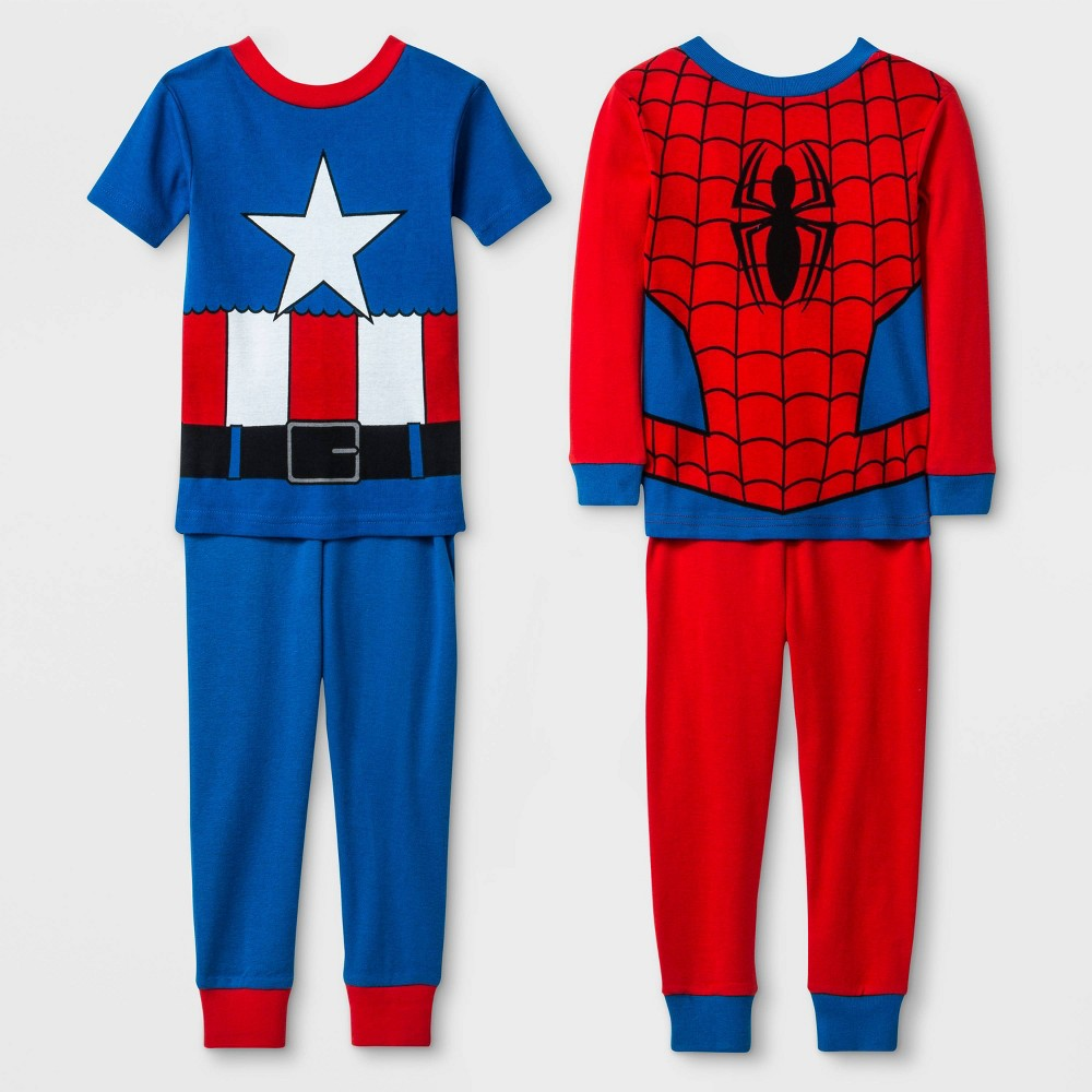 Image of Baby Boys' 4pc Marvel Pajama Set - Red/Blue 12M, Boy's, Blue/Red
