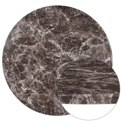 """Flash Furniture 36"""" Round Gray Marble Laminate Table Top"""