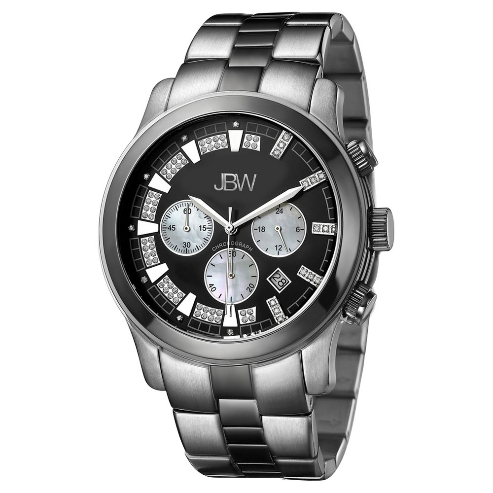 Image of Men's JBW JB-6218-A Delano Japanese Movement Stainless Steel Real Diamond Watch - Silver, Men's, Size: Small
