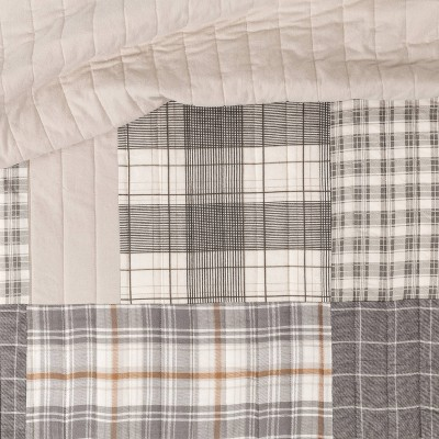 Threshold™ Flannel Patchwork Quilt Gray And Tan : Target