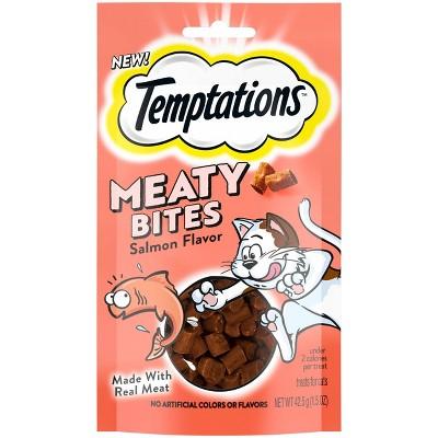Temptations Meaty Bites Salmon Jerky Cat Treats - 1.5oz